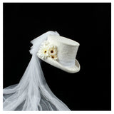 BRIDE OF HONOR - 100% Wool Veil Flower Top Hat (55cm - 61cm)z