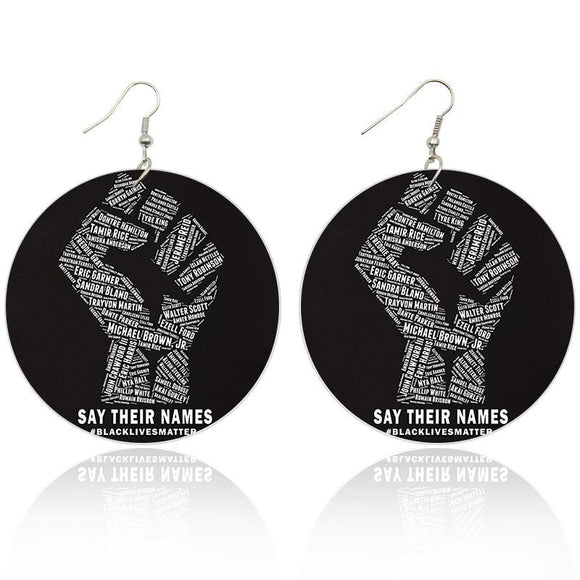 Say Their Names Black Lives Matter Fist Wood Earrings