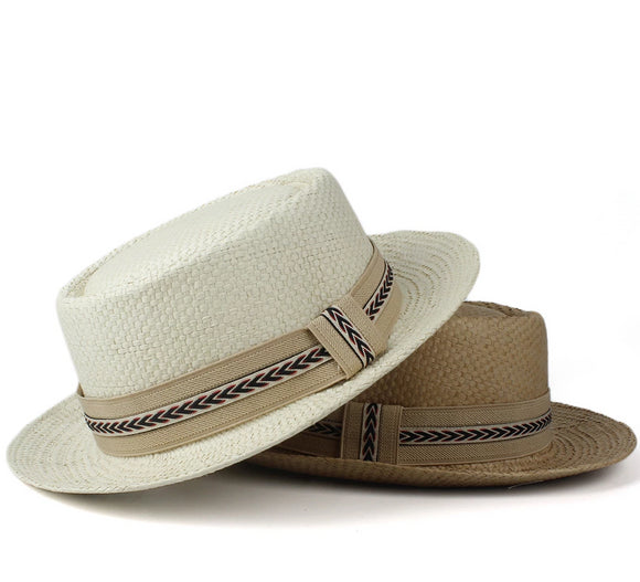 SAGE - Unisex Panama Pork Pie Hat With Beige Band