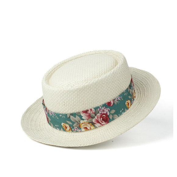 BAYLEN - Unisex Panama Pork Pie Hat With Floral Ribbon Band
