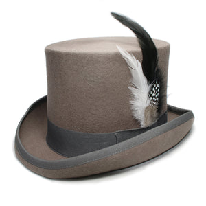 DYNAMO - Gray Feather Wool Flat High Top Hat