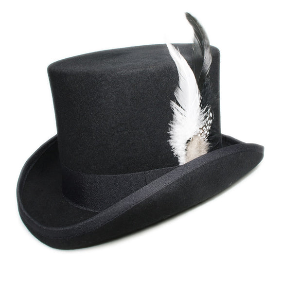 DYNAMO - Black Feather Wool Flat High Top Hat