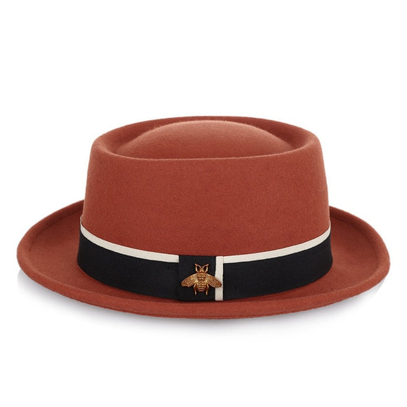 BEEZY - Pork Pie Hat With Black Ribbon Band / Bee Charm (6 Colors)