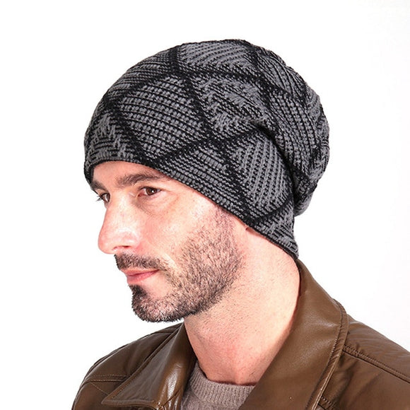 Knitted Plaid Beanie Hat (6 Colors)