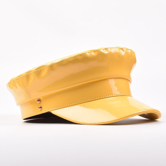 Yellow PU Leather Gatsby Baker Boy Hat Cap