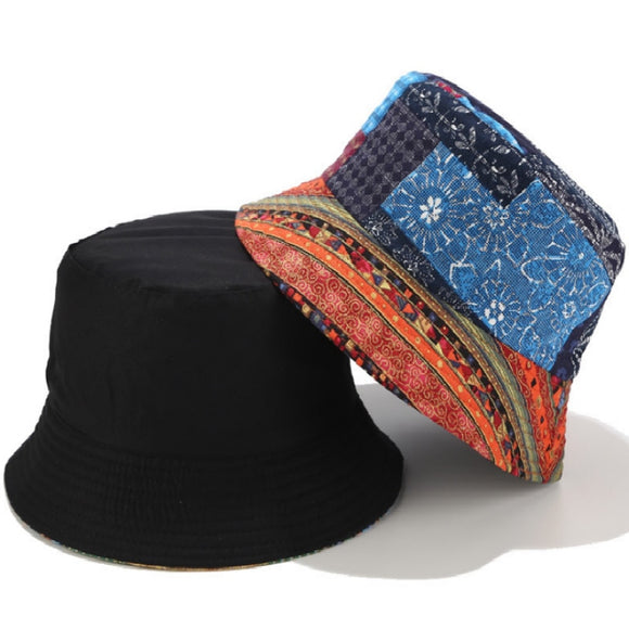 Boho Patch Pattern Bucket Hat (2 Colors)