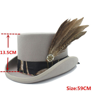 POLARIS - Gray Wool Top Hat With Feather Vintage Print Band (55cm-61cm)