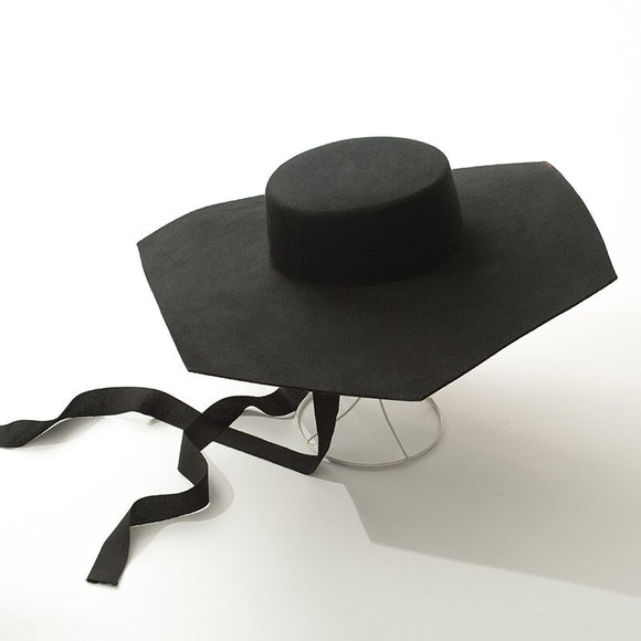 JONELLE -  Black Wool Octagon Fedora - 57cm