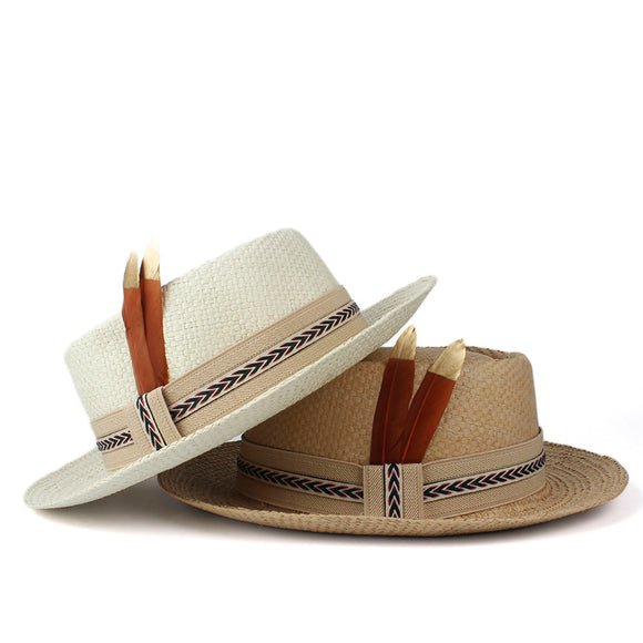 VOLANTE - Unisex Straw Pork Pie Hat With Feather Stitched Band