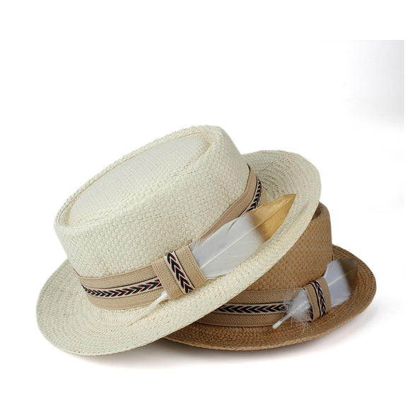 SWALE - Unisex Straw Pork Pie Hat With Feather Stitched Band