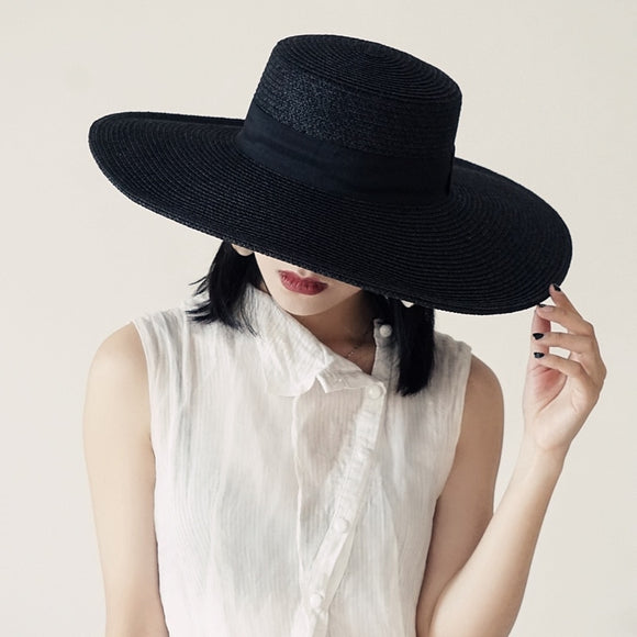 OBSIDIAN - Large Wide Brim Black Hand Weaved Panama Straw Hat