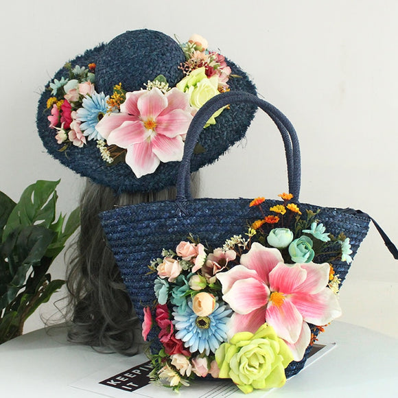 Navy / Multi Color Pink / Yellow Handmade Floral Bohemian Straw Panama Hat & Hand Tote Bag