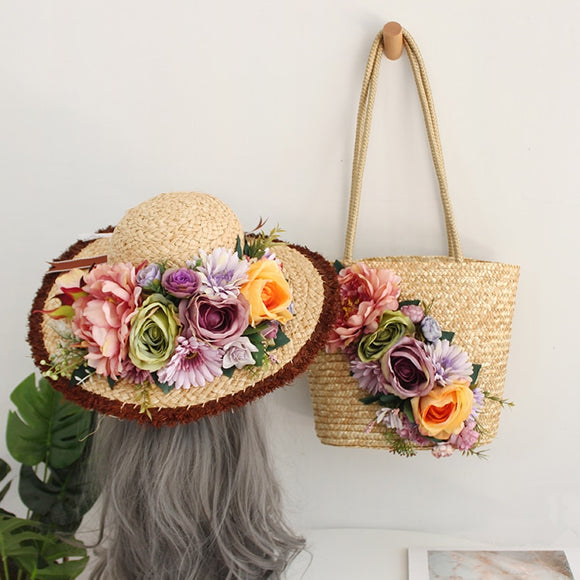 Beige / Purple Multi Color Handmade Floral Bohemian Straw Panama Hat & Hand Tote Bag