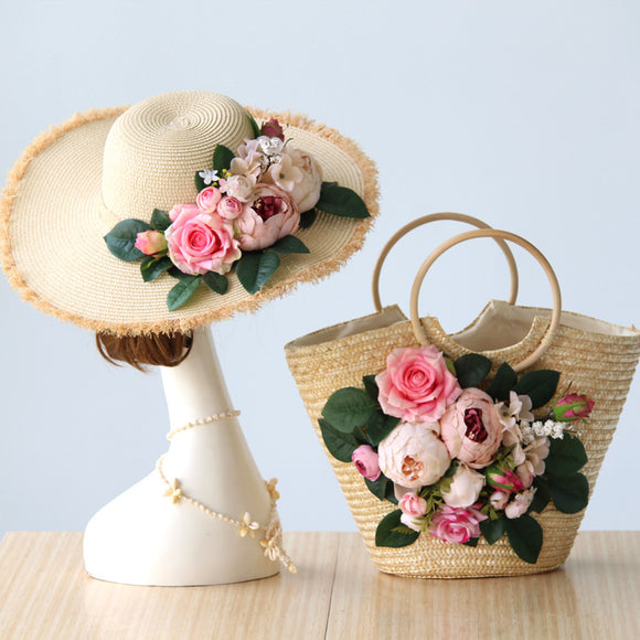 Light Beige / Pink Handmade Floral Bohemian Straw Panama Hat & Hand Tote Bag