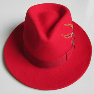 FERERRO - 100% Wool Red Felt Feather Fedora Hat