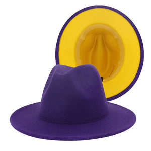 FITZROY - Unisex Purple Fedora Hat With Yellow Lining (56-60cm)