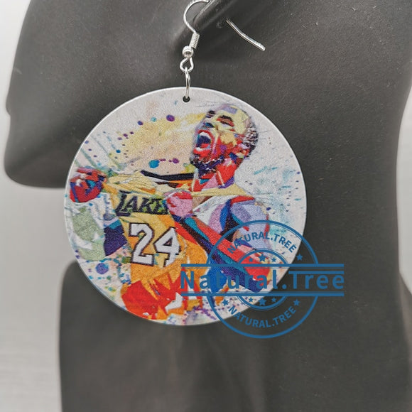 Kobe Bryant/ Gigi Bryant Print Round Wood Earrings (12 Prints)