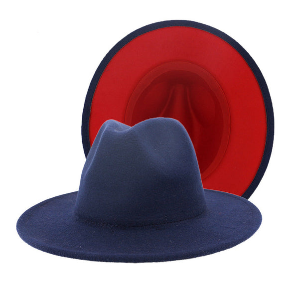 PIERCE - Unisex Navy Fedora Hat With Red Lining (56-60cm)