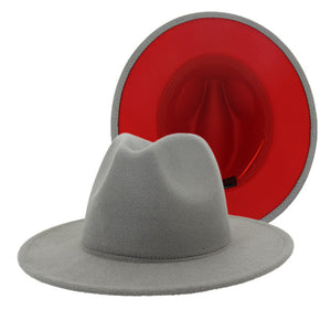 LAZARICK - Unisex Gray Fedora Hat With Red Lining (56-60cm)