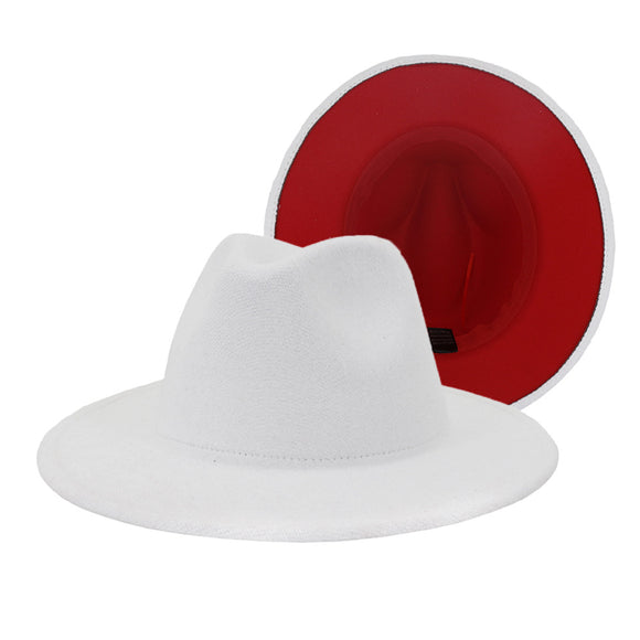 BOREAL - Unisex White and Red Two Tone Fedora Hat