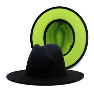 NUVO - Unisex Black and Neon Green Bottom Two Tone Fedora Hat
