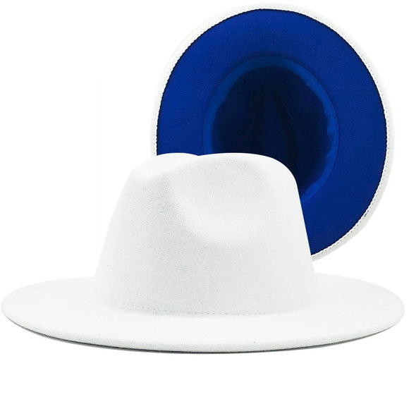 BLUEBELL - Unisex White / Blue Lining Two Tone Fedora Hat