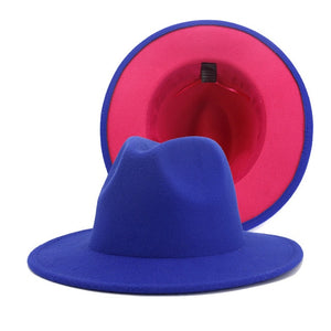 COSMICO - Unisex Blue Two Tone Fedora Hat With Pink Lining