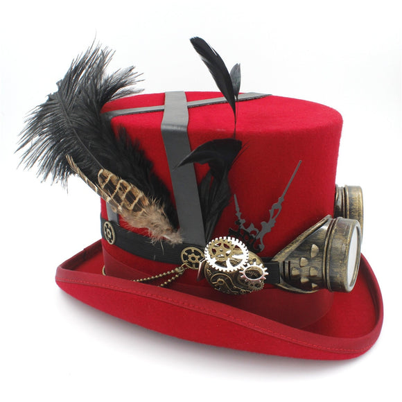 MARX - Red 100% Wool Custom Made Feather Goggle Steampunk Top Hat