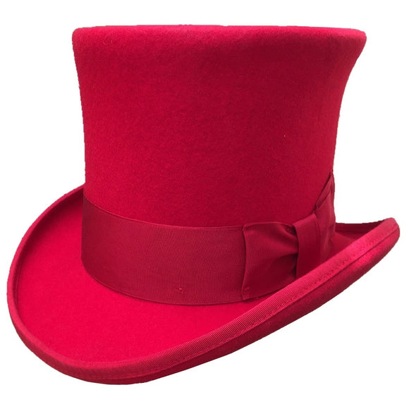 VALENTINO - Red Wool Felt Top Hat With Bow Band