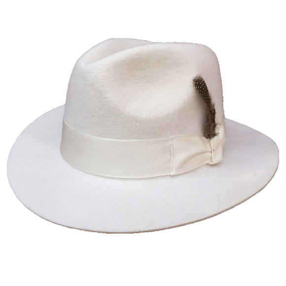 CHIEFA - Classic White Wool Felt Feather Fedora Hat (55cm-61cm)