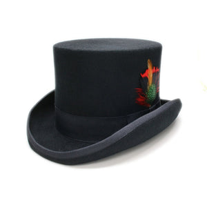 LADIN - Black Flat Top Feather Fedora