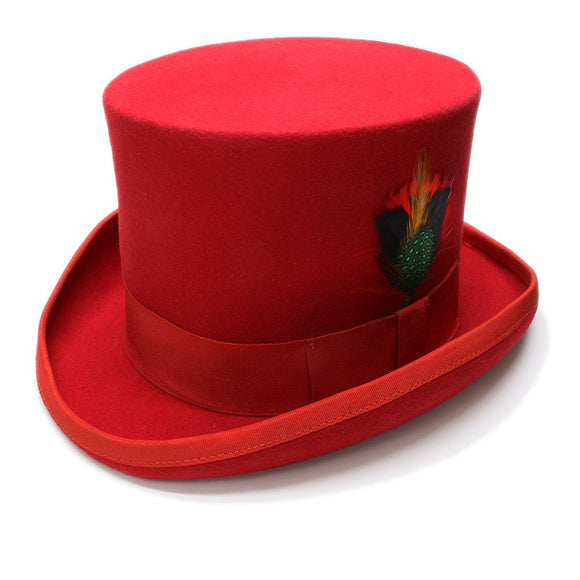 THE MAGICIAN - Red Flat Top Feather Fedora