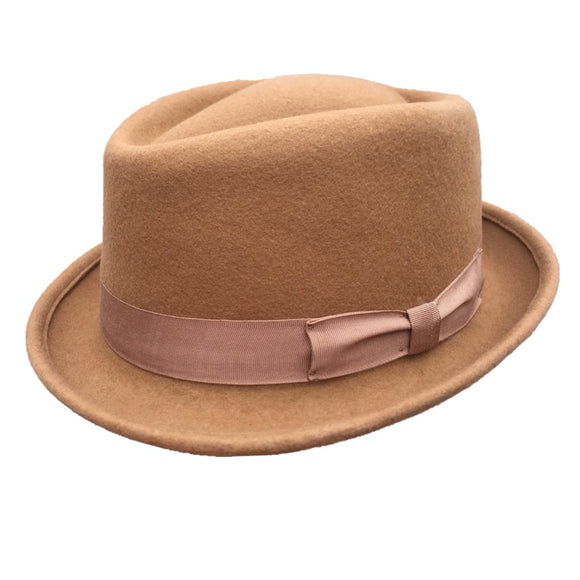 CAREY - Camel Wool Homburg Hat (55cm- 61cm)