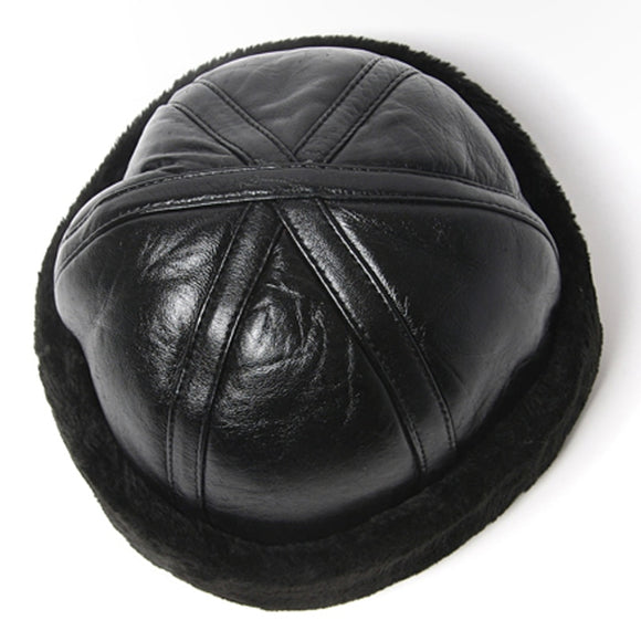 Genuine Leather Rolled Brim Skull Cap (55-61cm)