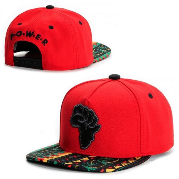 AFRICA Map/Fist (Multi-Colored Brim) Snapback Cap Hat