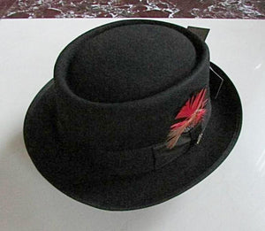 ALBAN - Feathered Wool Pork Pie Hat (2 Colors - 7 Sizes) 55cm - 91cm
