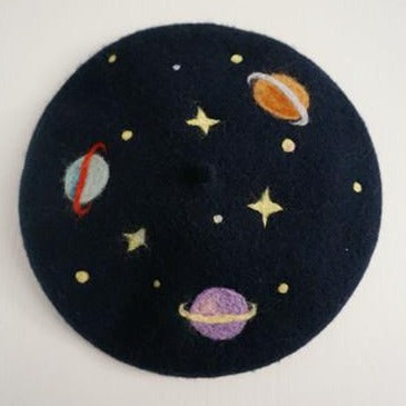 SPACED OUT - Unisex Vintage Style Wool Space / Planet Beret Hat