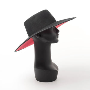 THE SLAYER  - Unisex Wide Brim Splice Two Tone Red Bottom Wool Fedora