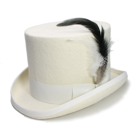 DYNAMO -White Black Feather Wool Flat High Top Hat