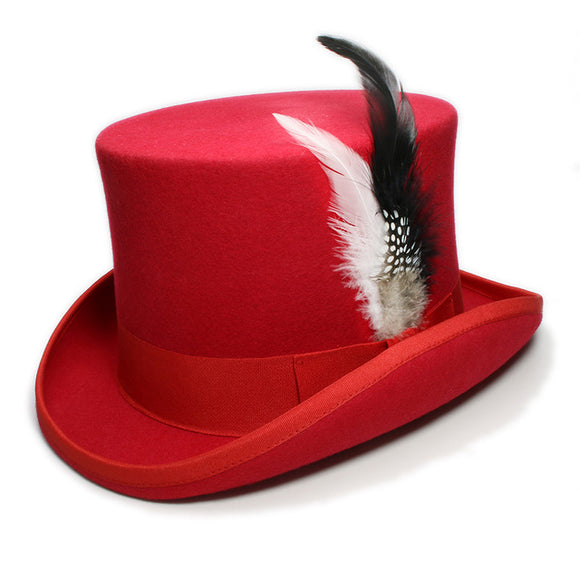 DYNAMO  - Red Feather Wool Flat High Top Hat