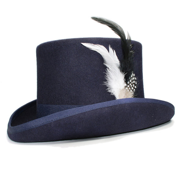 DYNAMO - Navy Feather Wool Flat High Top Hat