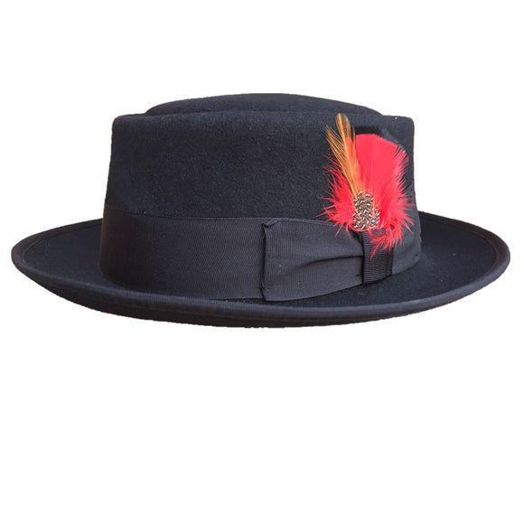 KASH - Classic Wool Felt Black Pork Pie Hat (55cm - 61cm)