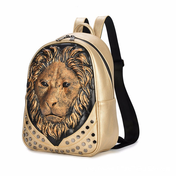 3D Embossed Lion Head Studded Leather Backpack (10 Color Styles)