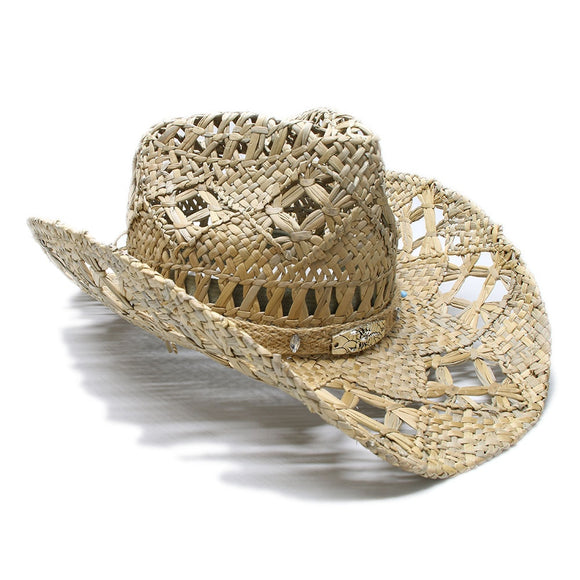 LINDERO - Weaved Band Western Straw Hat (58cm)