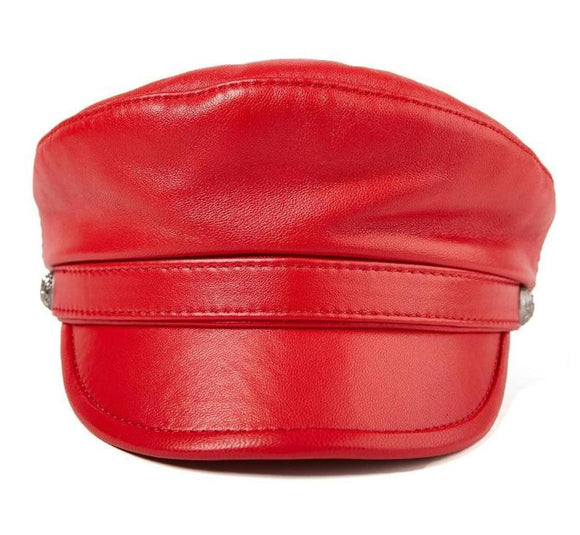 Unisex Red Leather Captain Baker Boy Hat - Sizes 55cm-60cm
