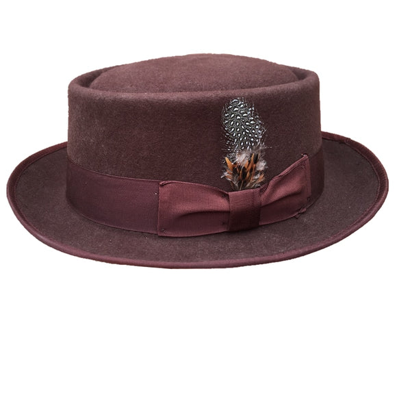 DEVOE - Classic Wool Felt Brown Pork Pie Hat (55cm -61cm)