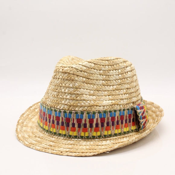 TRIX - Straw Jazz Hat With Aztec Coloful Band