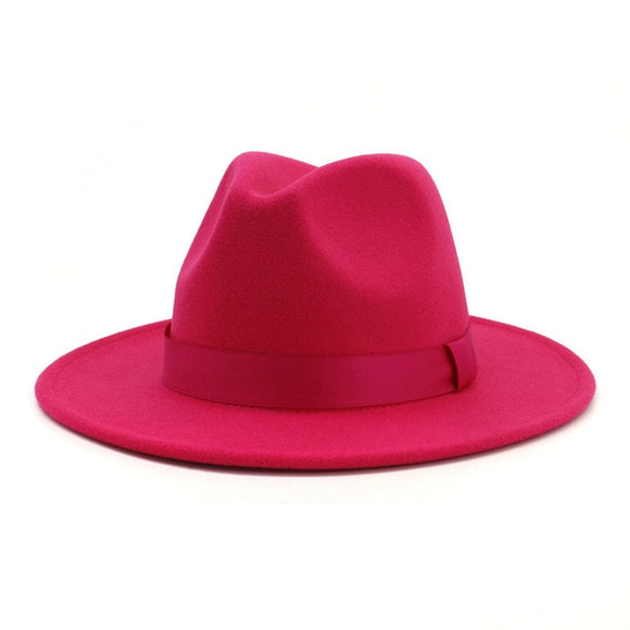 CERISE - Unisex Stylish Fuchsia Hot Pink Fedora Hat with Ribbon Band - Size 56cm-60cm