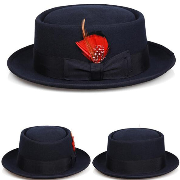CANE - Unisex Black Pork Pie Curved Brim Feather Fedora (Sizes S - XL)
