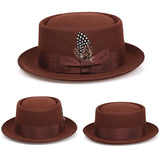 CANE - Unisex Coffee Pork Pie Curved Brim Feather Fedora (Sizes S - XL)